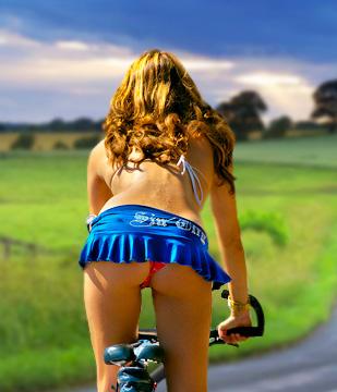 Bikes Seats Lady on a bike cross county