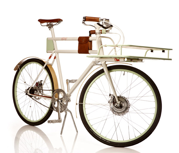 The stylish Faraday Porteur with a small front geared hub motor.
