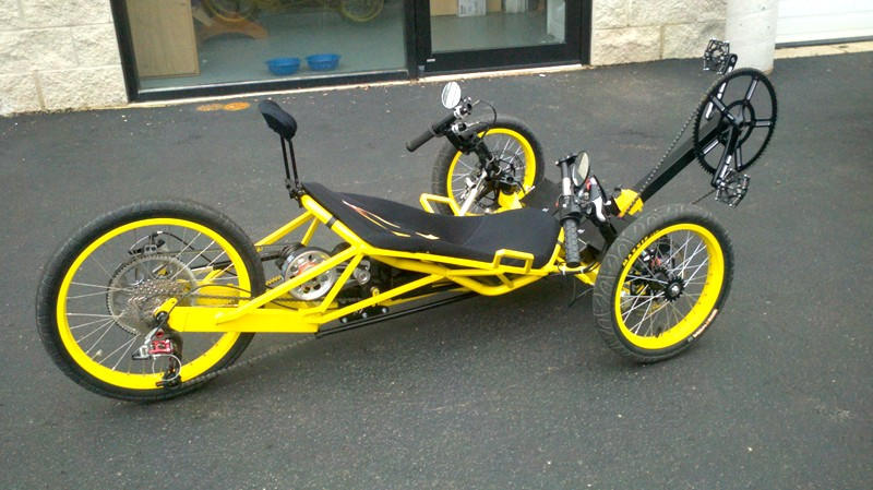 Matt Shumakers Astro-powered yellow Trike.