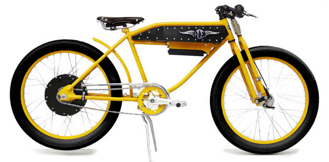 Ace Electric Bicycles, this one in yellow, one of several color choices.