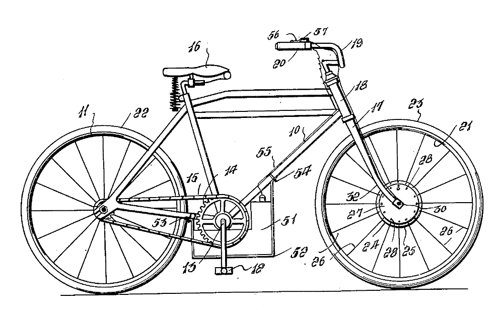 The 1939 McDonald front hub-motor E-bike.