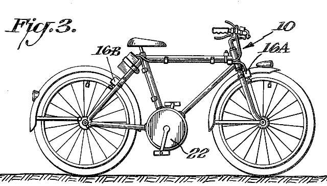 The 1975 Kinzel E-bike, with the motor built into the bottom-bracket.