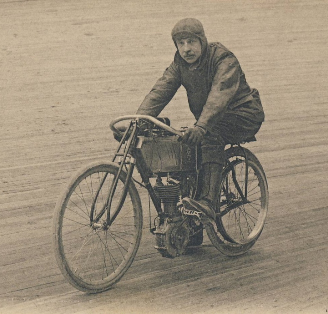 Here is a board-track racer in France, from 1917.
