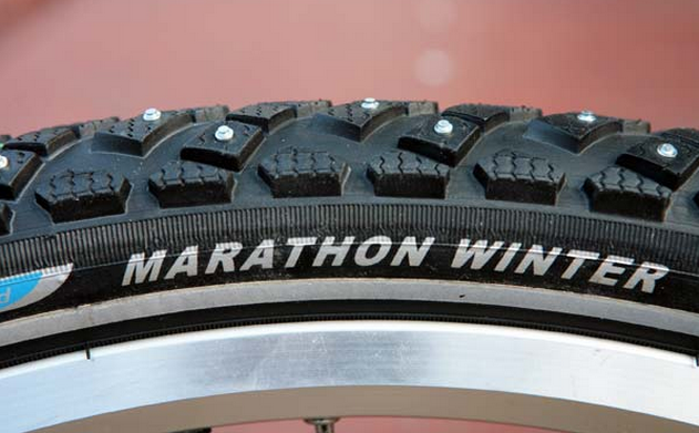 The Scwalbe Marathon Winter is probably the most well-known studded bicycle tire.
