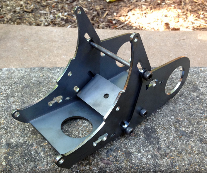 This is the mounting bracket for the motor and jackshaft of the LightningRods kit we will be testing soon.