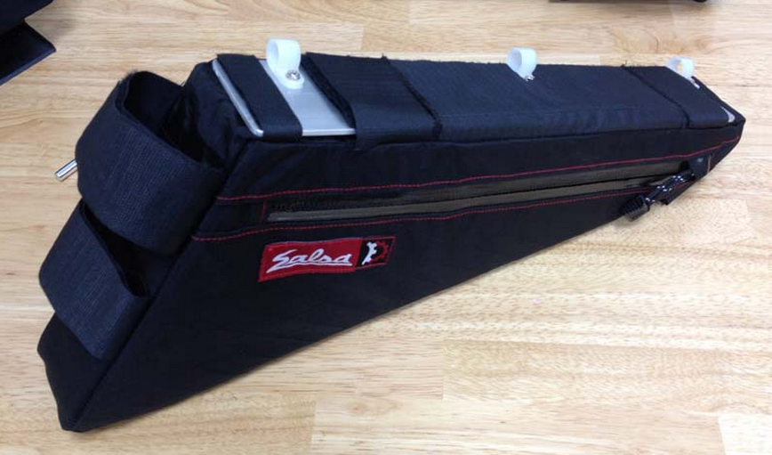 A triangle frame bag from Revelate, designed for Salsa bicycles.