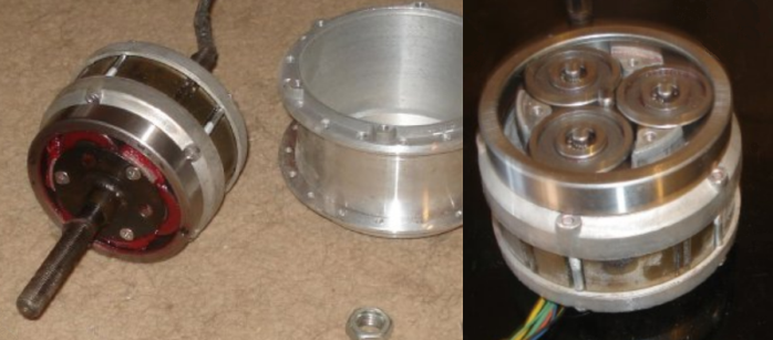 If you can be happy with 360W, this sweet little Tongxin motor runs quietly, and oddly enough, it is also an inrunner, which sheds heat better than the common outrunner geared hubs.