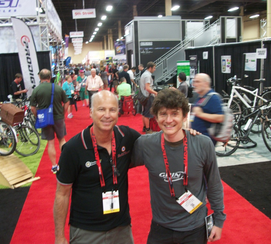Me (the old man with baggy shorts) and Justin L-E, one of the pioneers of the modern E-bike movement, from Grin Tech at ebikes.ca